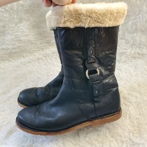 FRYE Black Leather fur Lined boots size 10